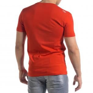 Червена мъжка тениска гумирани печати  2