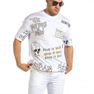 Oversize мъжка бяла тениска с череп