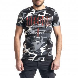 Мъжка тениска сив камуфлаж с принт