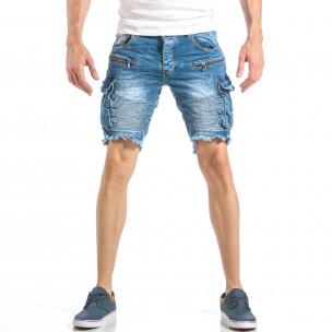 Мъжки рокерски къси дънки в синьо с карго джобове