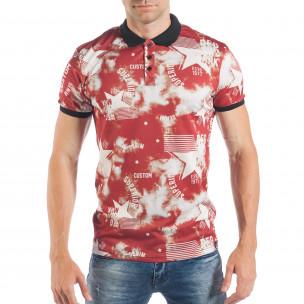 Мъжка ефектна тениска с яка на звезди
