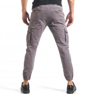Мъжки сив карго панталон с ленти отстрани  2