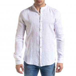 Мъжка бяла риза от лен с яка столче  2