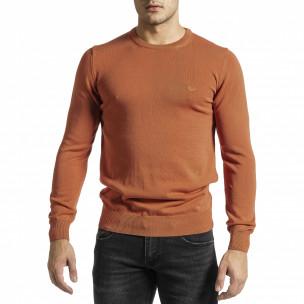 Фин памучен мъжки оранжев пуловер