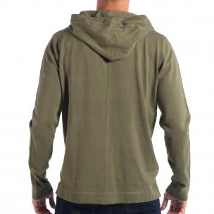 Мъжки лек пуловер RESERVED в зелено с качулка 2