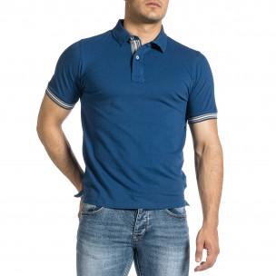 Мъжка синя тениска с яка и раирано бие