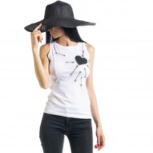 Бяла дамска тениска без ръкави