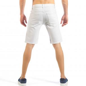 Мъжки бели къси дънки с фини кръпки  2