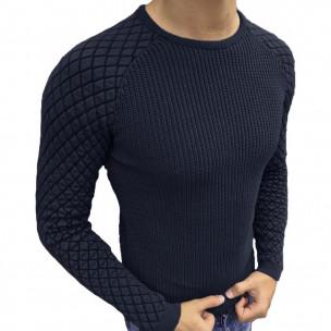 Тъмносин пуловер с реглан ръкав на ромбове