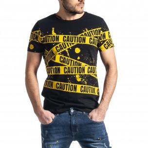 Мъжка тениска Caution в черно и жълто