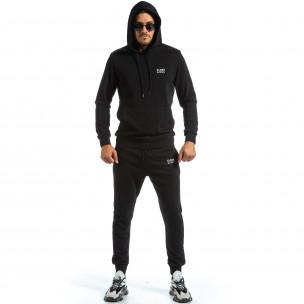 Basic мъжки черен спортен комплект от памук Clang