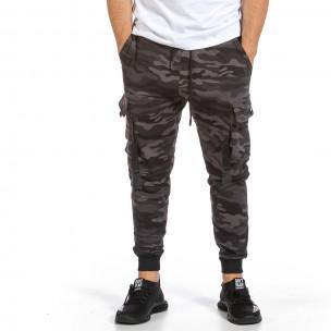 Мъжко Hip Hop долнище сиво-черен камуфлаж Adrexx