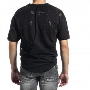 Мъжка черна тениска с прозрачни петна 2