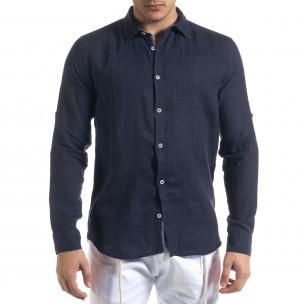 Ленена мъжка риза в тъмно синьо  2