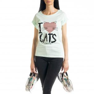 Дамска тениска с пайети цвят мента