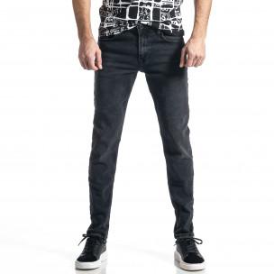 Long Slim дънки плътен деним в черно
