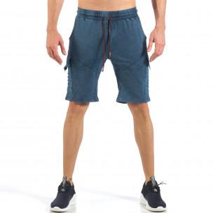 Мъжки шорти с карго джобове в цвят деним