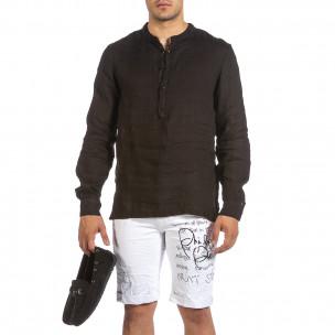 Ленена мъжка риза Rustic в черно