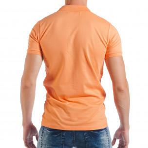 Оранжева мъжка тениска пике с яка  2