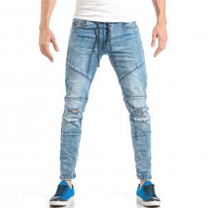 Рокерски сини мъжки дънки с ластик