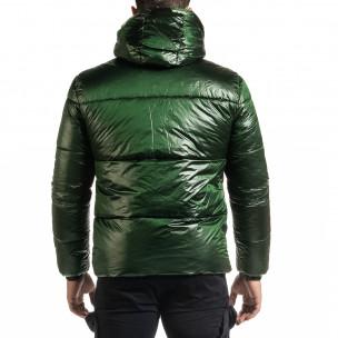 Мъжка зелена пухенка с качулка 2