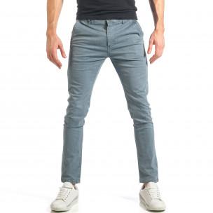 Мъжки син панталон с малки детайли по плата
