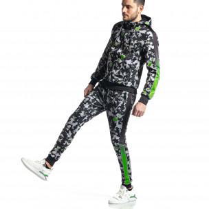 Мъжки черно-зелен анцуг All over print  2