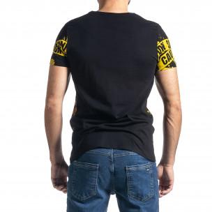 Мъжка тениска Caution в черно и жълто 2