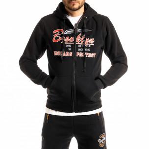 Мъжки черен суичър с цип Brooklyn