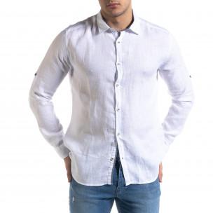 Ленена мъжка риза в бяло  2