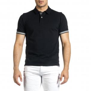Мъжка черна тениска с яка и раирано бие  2