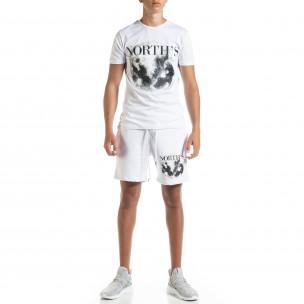 Бял мъжки спортен комплект Moon
