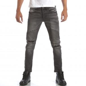 Мъжки сиви дънки със скъсвания на коленете