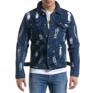 Мъжко синьо дънково яке с принт