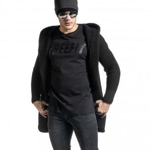 Структурирана черна жилетка реглан ръкав