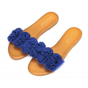 Дамски чехли с ефект на цветя в синьо 2