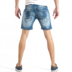 Къси мъжки дънки в синьо с декоративен ръчен шев  2