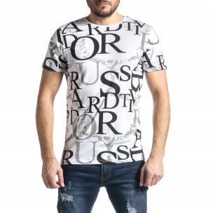 Мъжка бяла тениска с десен