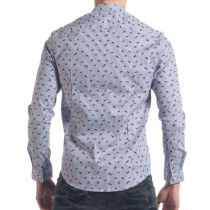 Мъжка синьо-бяла раирана риза с птички  2