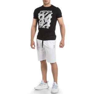 Мъжки комплект Streetwear в черно и бяло Disculpe 2