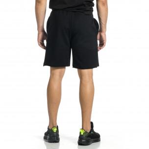 Трикотажни мъжки черни шорти с лого 2