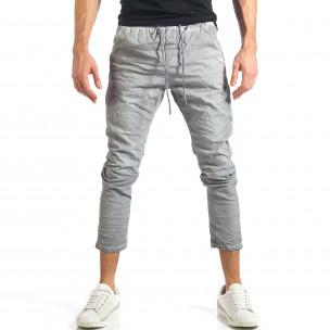 Мъжки сив лек панталон на малки точици