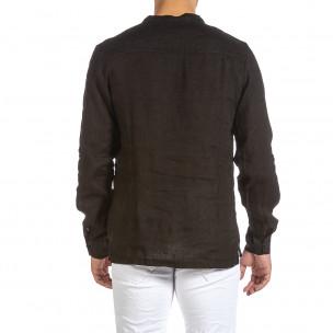 Ленена мъжка риза Rustic в черно 2