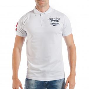 Мъжка тениска пике в бяло с номер 2