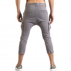 Мъжки сив панталон 7/8 с джобове на крачолите  2