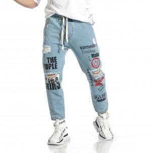 Relaxed fit мъжки сини дънки с принт