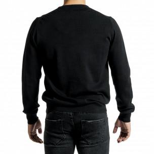 Фин памучен мъжки черен пуловер  2