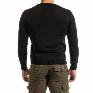 Мъжки фин черен пуловер с връзки  2