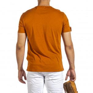 Текстурирана тениска цвят камел 2