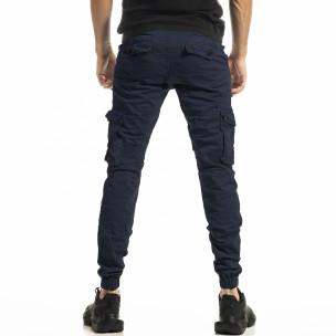 Мъжки син карго панталон с ластик на крачолите  2